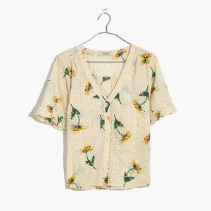 Madewell Eyelet Village Sunflower Shirt XXS